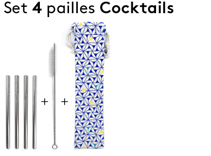 Image                 Triangles_Bleu_Set de 4 pailles inox cocktail+goupillon+pochette